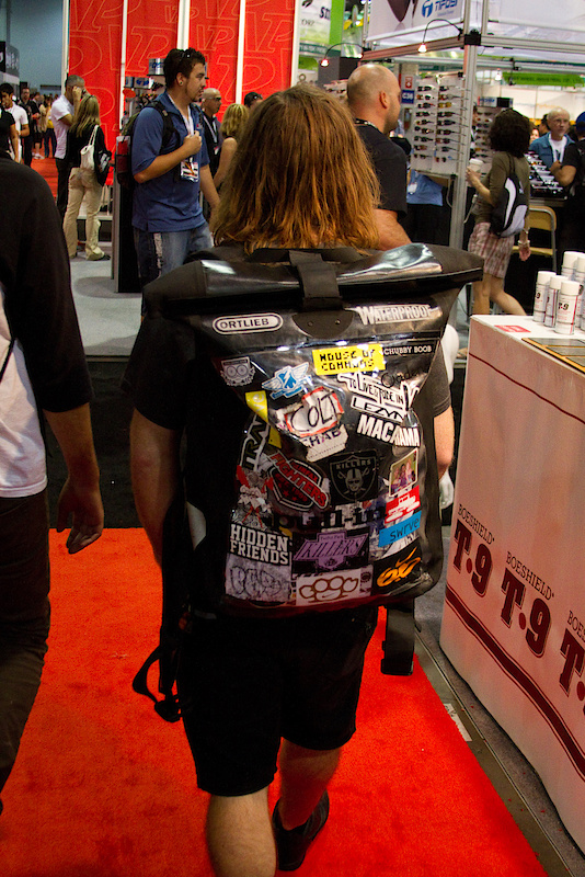 Every once in a while you run into something that looks like it has been around for a long time, and this back pack struck me as that. Covered in stickers, this pack looks like it's been around the world and back!