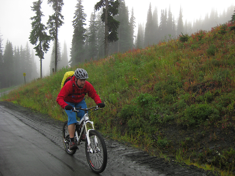 Me out riding in Vernon at Silver Star Mountain resort in the rain - integrated rain cover doing its job.