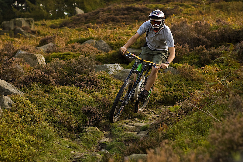 Mike riding the rock garden at Ilkley