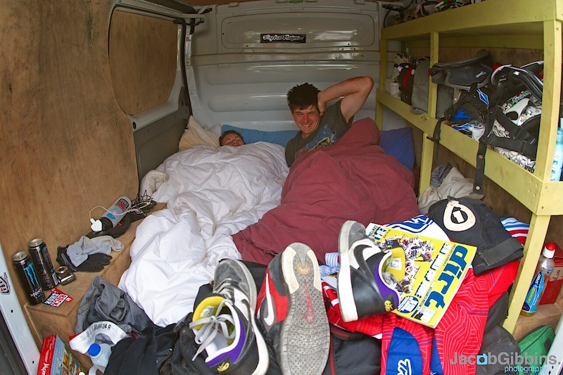 When you're not in the top 5 at WCs it's not all hotels and jets, it's 3 men in the back of a van all getting just that bit too cosy!