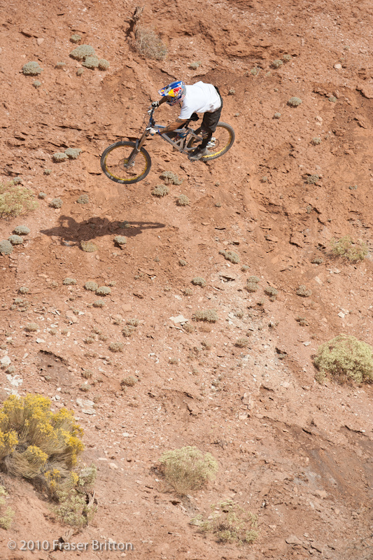 Andreu is on a Mondraker this week, officially, after his contract expires tomorrow. Until then,  <br> it's a Kona.  He has some pretty creative lines here, and may be tailor made for Red Bull Rampage.