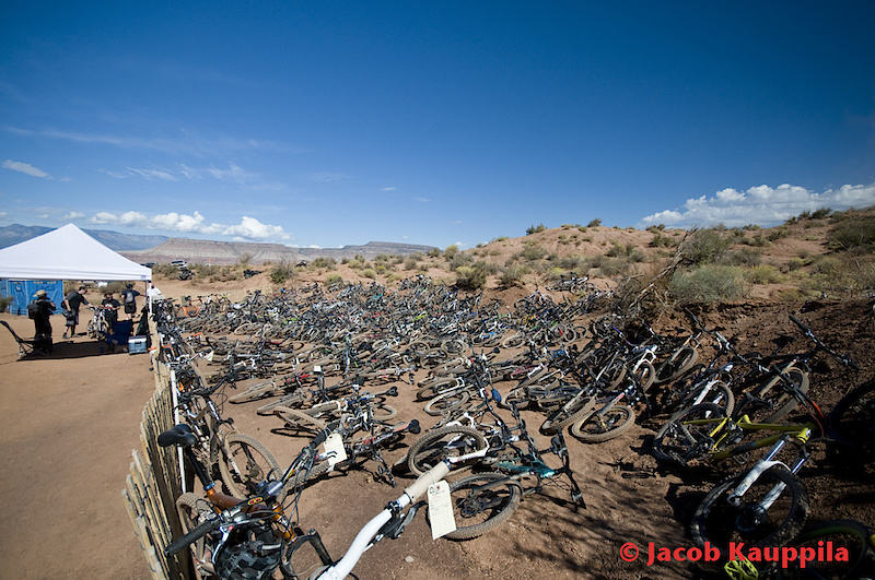 How else would you go to an MTB event, but by bike?