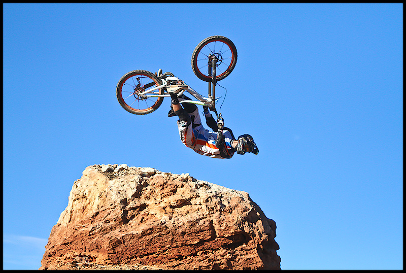 Van Dine getting upside down at the Rampage.