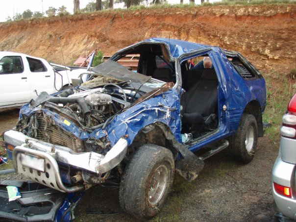 This is the car that had the run-in with the Kangaroo. Hard to believe that anyone could survive this, let alone escape with mostly minor injuries.