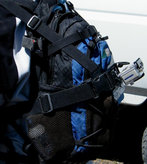 Chest-mount on a pack filming backwards