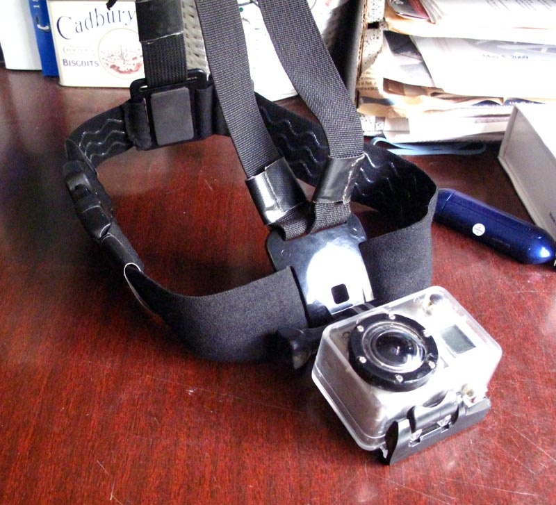 Here is the finished chest mount once the headband mount is converted.   The GoPro headband elastic mount was cut in half and joined with buckles. Note that I've mounted the GoPro upside down so its the right angle