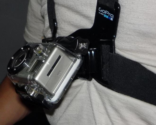 Proper inclination of the chest mount if you're riding downhill - it should look like the camera's pointing at your chin.  This has the GoPro mounted upside down.   Use the UPD camera feature or flip the video in your software to get the footage right side up.  Picture from