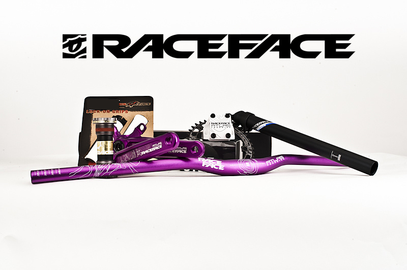 Part 1 - Silverstar prize pack - Race Face hard goods package including purple Atlas FR handlebar & cranks, White Atlas FR direct mount stem, Evolve seat post, chain ring and grips.