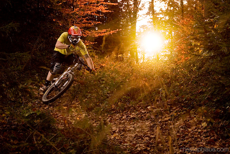 Sven Woehrle riding in the sunset