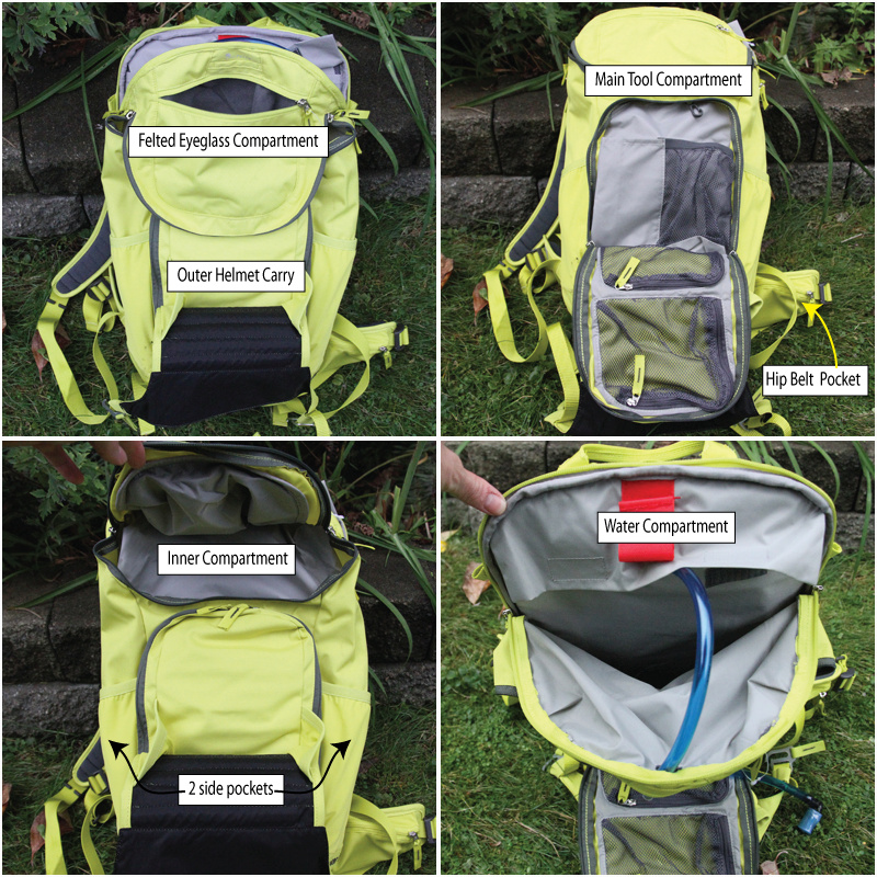 <span style='font-size:17px'>There are five main compartments and smaller pockets to store your stuff</span><br><br><br>Design and Construction:<br><br>- Outer Helmet carry - with unique fastening system<br>- Zipped felted eyeglass compartment<br>- Water compartment<br>- Inner compartment <br>- Main tool compartment with additional zipped pockets<br>-Dimensions: 46.0 x 27.0 x 13.0 cm<br>-1250 grams or 2.7 lbs