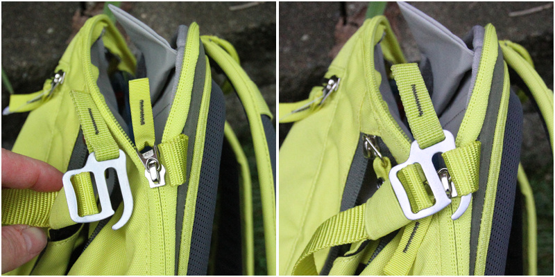 <span style='font-size:17px'>Hooks to secure helmet carrier to the rest of the pack</span><br><br><br>The Vaude pack is complicated to look at initially. With the many pockets and straps it takes some time to figure it all out, but once you do it all makes sense and becomes a nice tight package. The water compartment is further to the rear of the pack and it zips open and the water bladder goes into a sleeve in the back. This leaves a separate space in the back for more jackets or other things. The inner compartment in the front has a zippered flap opening and the overall capacity of the pack is shared between these two spaces. Keep in mind that over filling one compartment will limit usable space in the other - pack smart! On top of the inner compartment is a smaller, fleeced zippered pouch where I put my glasses, GPS, and other valuable items I may need access to during a ride. The front of the pack sports a separate tool compartment that has inner mesh pockets to store your keys or phone securely, as well as your tools. I did find my shock pump was too long to fit in this pocket and had to be stored in the inner compartment. The Tracer 12's front helmet flap can also hold a jacket for easy access when the weather turns for the worse. This flap is attached to the main pack with two hooks on either side - a unique mechanism we don't often see in North American where clasps are often used. This system was quick and easy to use and far more robust than plastic clasps. I found that the two side pockets are great for storing food or other smaller items you would need quick access to. The rain cover, located in yet another zippered pocket at the bottom of the pack, is a very bright and visible orange. This isn't unique to the Tracer, but it is a great addition for riding in wet or dark areas such as North Vancouver, B.C. The pack's hip belt can be removed or adjusted to be a shorter medium length to longer XL.