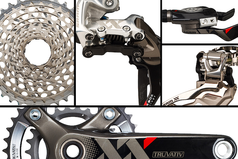 By now you probably get the picture - the AS-R 5 Carbon is a no holds barred trail bike - so why hang anything but the best off of it for parts? SRAM's top tier XX grouppo made sense, and not just because of the high carbon content. A trail bike like the Yeti is going to see all of the elements and will have every sort of terrain under its tires by the end of the season. We wanted a reliable setup that would not only let us climb straight up the side of a mountain, but would also run smooth after a wet Fall riding season. Having had some time on their 2 x 10 system prior to putting our custom Yeti together, I knew that I wanted to go that route with this build. The XX crankset uses 26/39 ring combo and spins on a ceramic bearing GXP bottom bracket. It is mated to an XX 11-36 X-Dome cassette. The result is less hassle with two rings instead of three, but a still suitable gearing range for the trails and mountains that I frequent the most. Slowing the bike down is a set of XX World Cup brakes, with the addition of a bigger than standard 185 mm rotor up front.