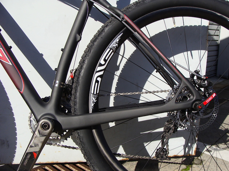 <span style='font-size:15px'>The unnamed bike looks to have short chainstays</span><br><br>The frame is said to use a tapered headtube up front and a standard threaded bottom bracket shell. Molded cable guides and stops, along with what looks like molded carbon International Standard brake mounts at the rear of the bike. No geometry numbers have been released at this point, but the bike looks to sport relatively short chainstays. It can be very cost prohibitive to change tooling for carbon frames so I'd expect the production bike to have very similar lines to this prototype version. Forecasted release date is said to be sometime this Spring.