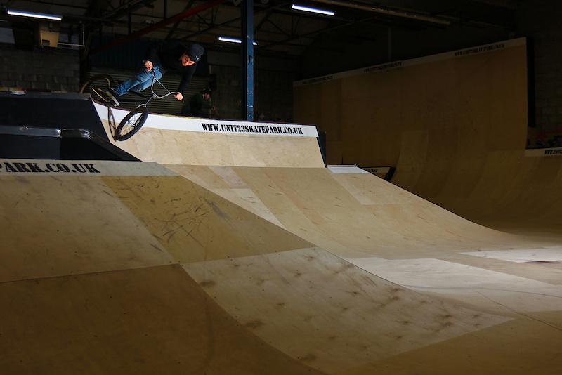 Chaz Mailey, BSD team rider and Unit23 staff and ramp builder riding the new ramps.
