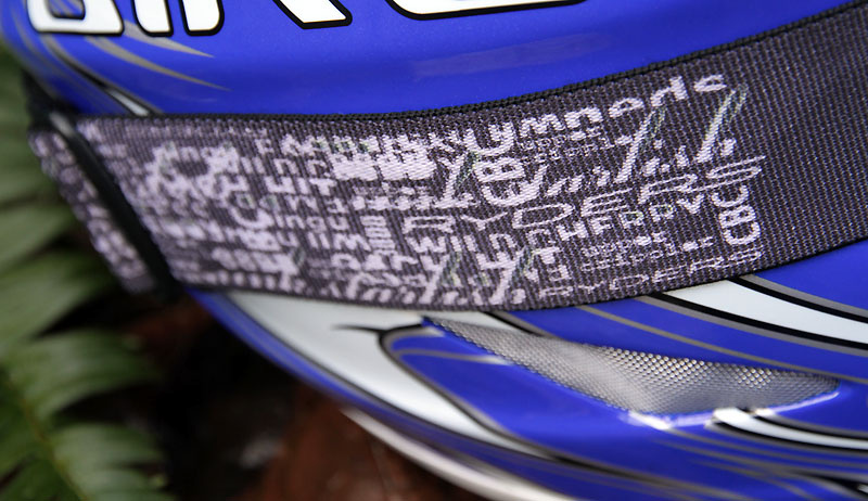 Strap detail on the Shore goggles. The names on the strap are of some of the classic and most loved trails on the North Shore