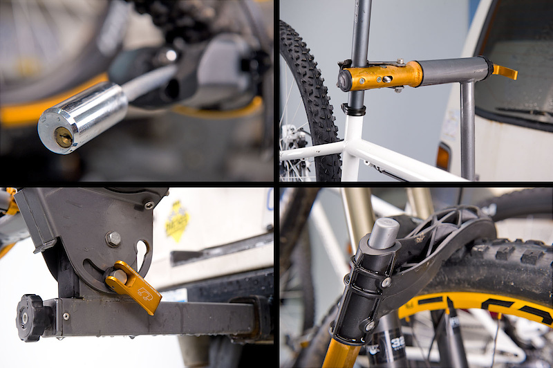 The NV features a cable lock (<I>top left</I>)that is neatly integrated into the rack body. The Trail Doc (<I>top right</I>) is a built-in repair stand that telescopes out from the rack to make repairs easier. Kuat's novel hand tightening cam system (<I>bottom left</I>) is designed to let the user remove the wiggle between the rack and hitch by way of an expanding wedge. Holding the bikes upright are ratcheting arms (<I>bottom right</I>) that grip the front tire without contacting the fork