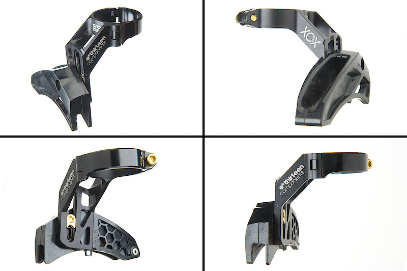 The XCX-ST uses a hinged bracket (<I>top left</I>) that makes installation a breeze. The polycarbonate slider (<I>top right</I>) is the exact same as used on the LG1+, including the honeycomb construction. It is shaped to work 32 - 44 tooth chainrings and is adjusted vertically by loosening only a single bolt (<I>bottom left</I>)