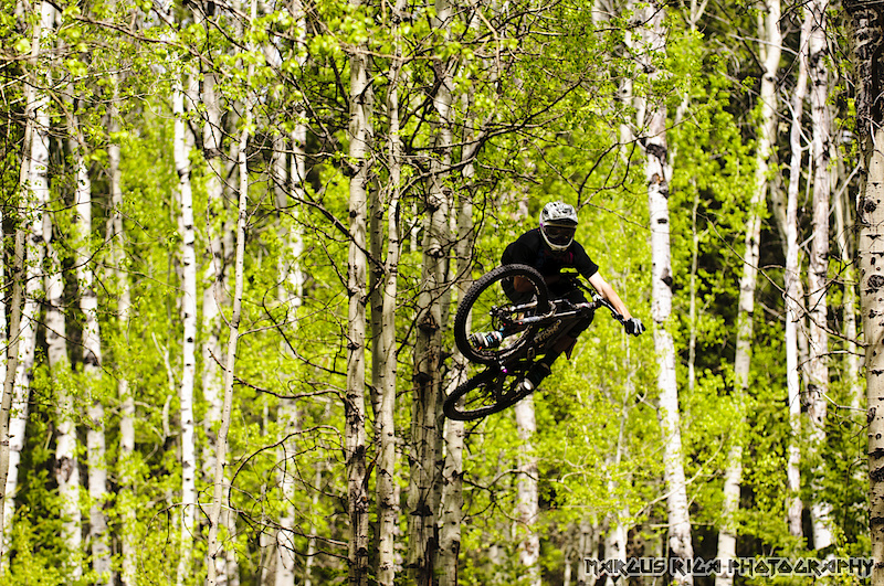 Williams Lake BC is amazing on so many levels. Mainly because there are so many levels of riding here. James Doerfling, playing amongst the Aspens. Hard to believe, not more than twenty minutes before this shot was taken, we were scoping a fifteen-hundred-foot, big mountain scree chute.