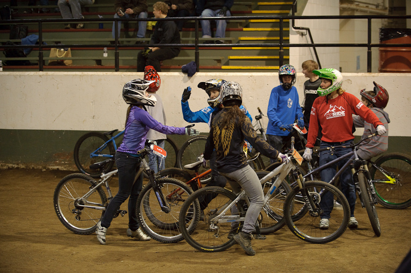 The high fives Tuesday night didn't just happen in the Ladies class. Everyone was stoked on the great series.