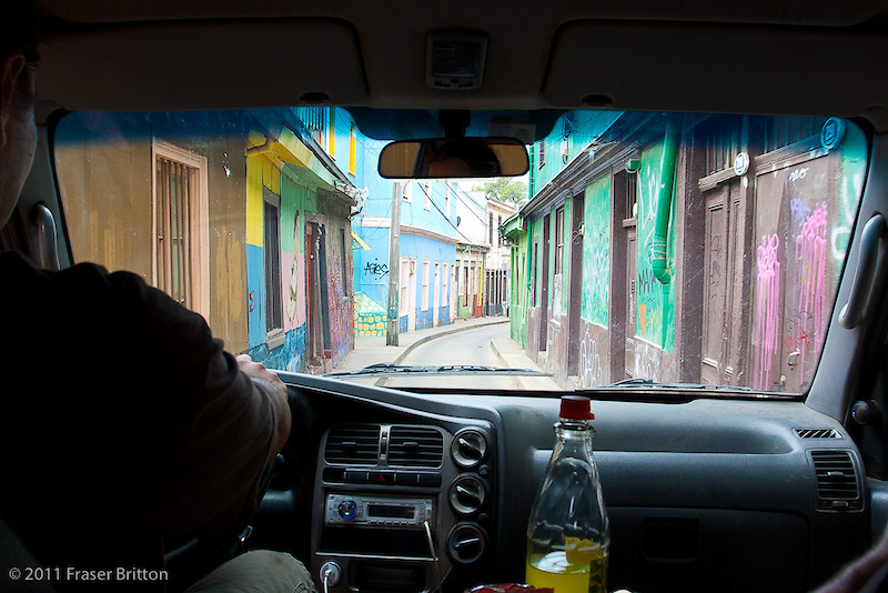 The streets in Valparaiso can be very, very narrow. Just take a look at the one we have to drive along to get to our hotel. It fits exactly, one car.