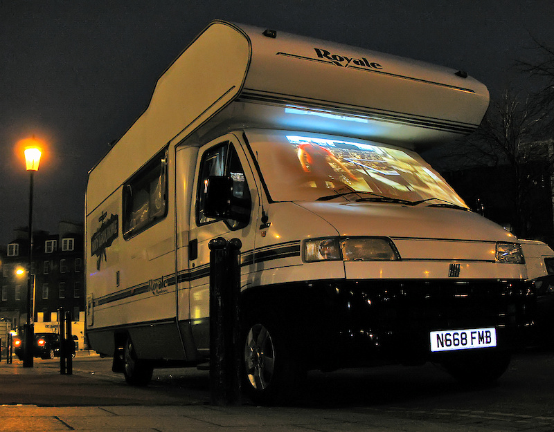 ...with red carpet treatment for the star of the show, and projector display of Way Back Home on the windscreen of the campervan (specially cleaned for the event!)...