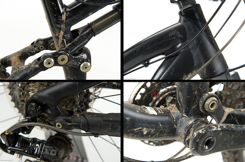 A de rigueur tapered head tube (<I>top right</I>) is used up front in conjunction with the Fox 32's tapered steerer tube in an effort to stiffen the front end. Down low on the black bike you'll find a Press Fit 30 bottom bracket shell (<I>bottom right</I>)that is fitted with a custom set of SRAM's XO double ring trail cranks, along with a Gamut Shift Guide bolted to the bike's ISCG 05 tabs. Specialized uses the Horst Link suspension design on all of their performance full suspension bikes and the Stumpy EVO is no different (<I>bottom left</I>). A smart clevis system (<I>top left</I>) eliminates the Fox shock's need for a rear bushing, instead connecting the damper directly to the bike's swing link via sealed bearings. Why? Worn bushings, usually found to be the rearmost bushing, will never pose an issue, and the design may make for a smoother stroke.