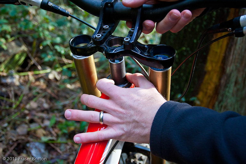 Slide the crown down, install your stem and any headset spacers that your bike uses, and snug the headset up to take any slack out of the system. You may be required to tighten the headset slightly more than usual to fully seat the gimbles into the headset cups. Once those are fully seated check the system for any play or to be sure that it isn't too tight. Finish up by tightening your stem and crown bolts, double checking to be certain that everything is torqued to the correct amount before hitting the trails.