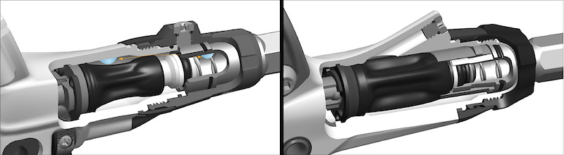The previous design (<i>left</i>) has its bleed port located on the contact adjustment dial. The Elixir's bleed port is now on the lever body itself (<i>right</i>) to allow air to be removed from the system easier. The internal shape of the master cylinder is referred to by Avid as their Airtrap feature and prevents bubbles from entering the system.