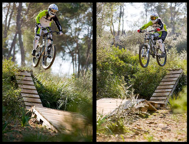 But besides nice trails and beaches there's also room for some airtime at Mallorca. The girls getting some air on some tracks build by some locals. Thanks for showing us.