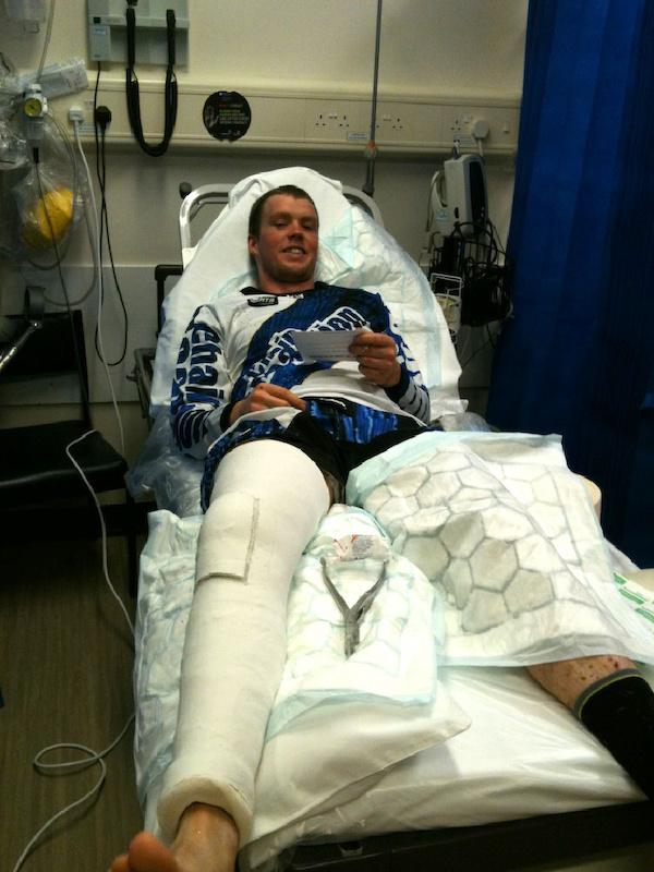 Matt layed up in hospital with a broken kneecap