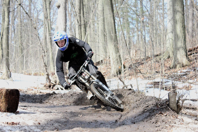 51. Jordan Whicher not worrying about the snow, ice, and mud on this pre-season ride.