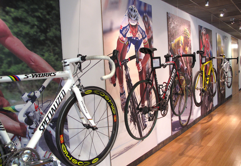 These are the steeds of some very tough men. Specialized has a long history on the road as well, including supplying bikes for sprint legends Mario Cipollini and Tom Boonen, as well as Alberto Contador and Andy Schleck, among others. There is a good chance that these bikes have broken the posted speed limits on the roads that they were raced on.