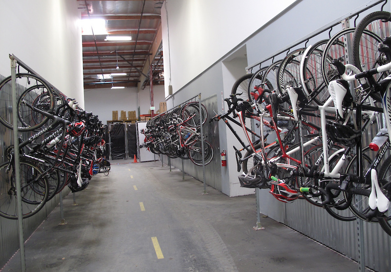 This is the staff parking, full of Specialized bikes, as you might expect. Pretty much everyone at Specialized rides, whether it is to commute to work or out on the lunch group rides.