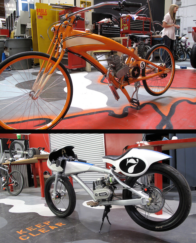Two motorized creations from the artistic minds behind Specialized. The bike's creators fired them up for us - both are fully functioning motorbikes. Despite my urgings, I wasn't allowed to jump on and light it up.