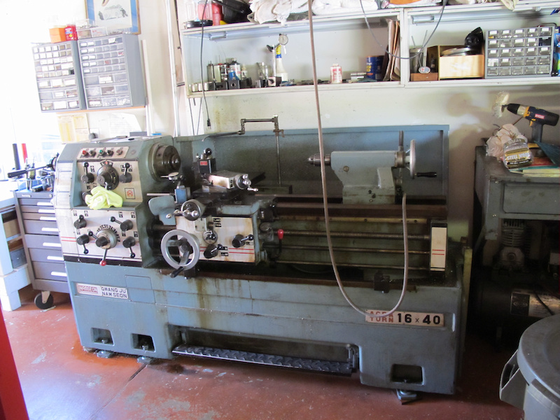Here is their manual lathe, waiting to be used.