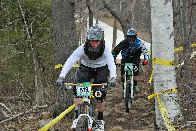 44. Adam Donlan in front of John French through the last rock garden at Kelso DH #1.