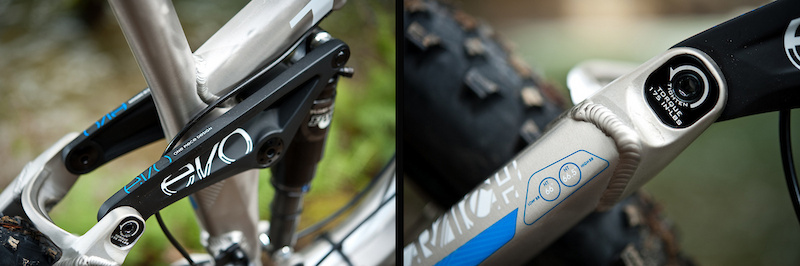 The Scratch's welded, one-piece Evo Link features inserts that allow you to adjust the head angle between 66 and 66.6 degrees, which slightly alters the bottom bracket height.