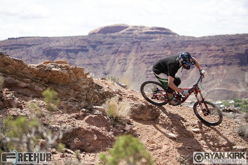 Jon Angermeier turning right high above Moab, UT.