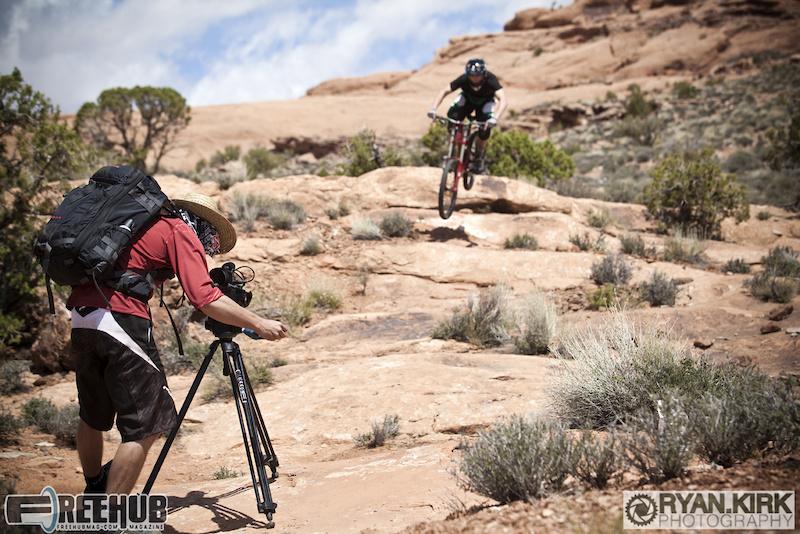 Filmer Chris Grundberg shooting rider Jon Angermeier in Moab, UT.