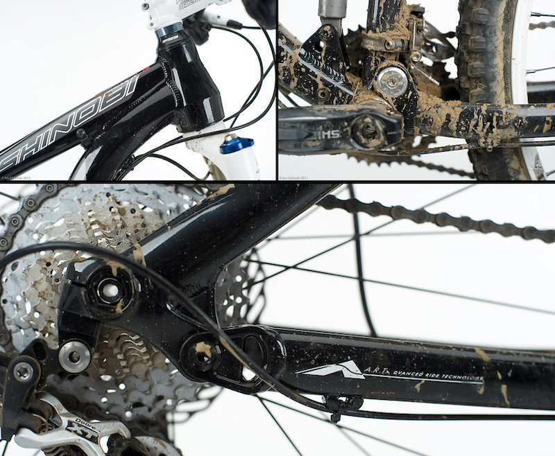 A short and burly tapered head tube (<i>top left</i>) helps to keep the front end low and stiff. The Shinobi's main pivot (<i>top right</i>) is positioned relatively low. Hidden behind the mud is a set of ISCG 05 chain guide tabs - a nice touch for those who want to mount a sturdy dual ring guide or even a HammerSchmidt crankset. The Shinobi's A.R.T. rear suspension is a version of the proven Horst link design that Norco's engineers have tweaked to perform to their liking.