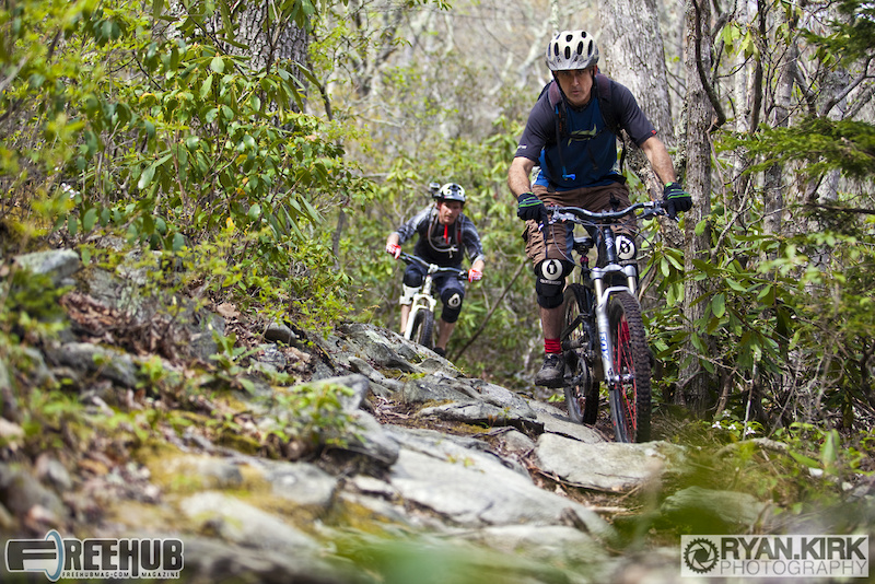 Rider Ethan Anderson and Brandon Watts in the midst of the High Country tech, Boone, NC.