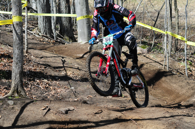 33. Graeme Duff with a strong drive out of the berm at Horseshoe DH #2.