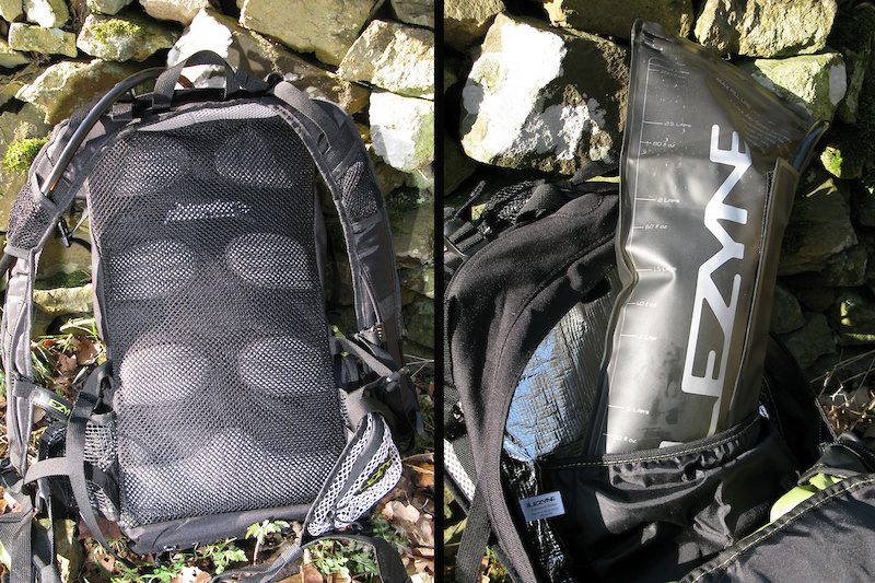 A padded mesh back (<i>left</i>) helps to allow the air to circulate between the bag and your body. A zip lock bladder (<i>right</i>) lets you easily clean the bladder after use.