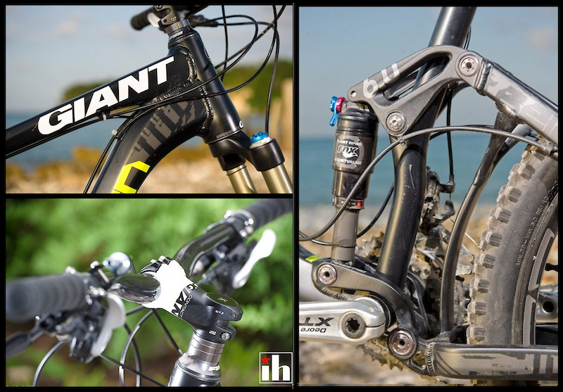 Giant Reign frame details: (clockwise) Giant's Overdrive tapered head tube uses an internal FSA sealed headset. Dual-link Maestro suspension takes a lot of abuse, but the lower link caught and damaged the chain during testing. Giant's