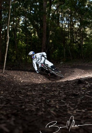 Ryan riding his local track which is renowned for it's unreal berm section.