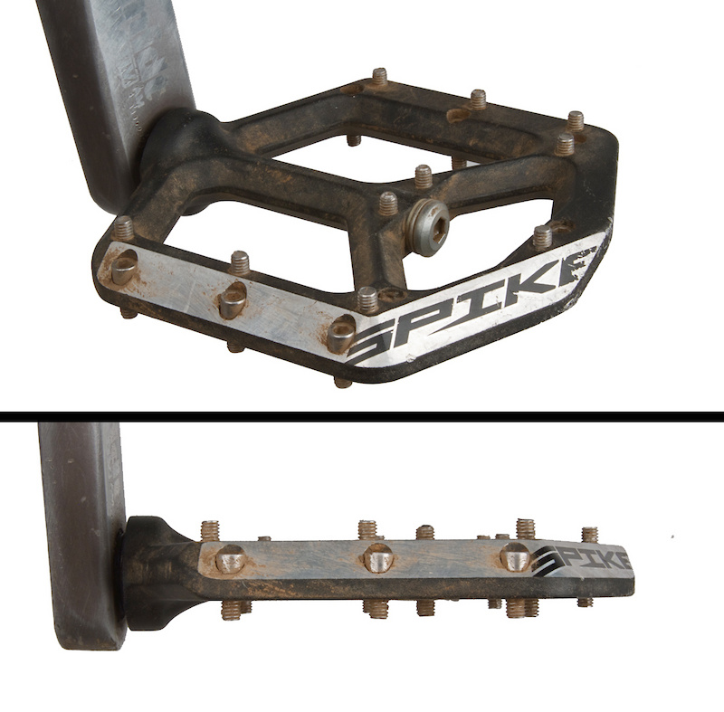 Spank's Spike pedals proved to be not only quite grippy, but also very sturdy, which is impressive considering their competitive sub-400 gram weight.