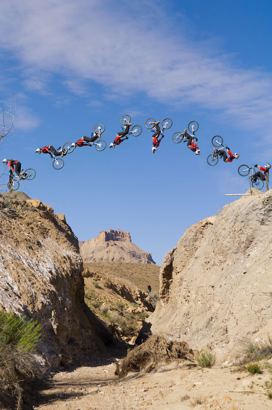 I found this canyon gap with Cam back in 2005, since then he's filmed it a few times for NWD. Cam compares it to the small gap on the Mega Ramp and the big one to the Canyon Gap at Rampage in 2008