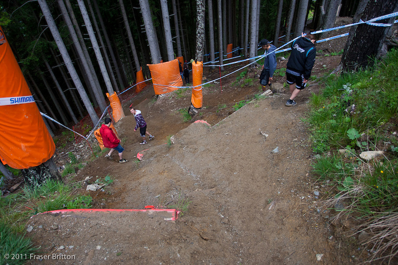 Leogang, Austria - World Cup.  Yes, it really is that steeop as you quite literally send it into the woods. Look out below.