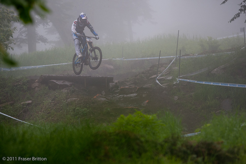Gee Atherton gives the fog an early morning session. The track spent most of the day pretty damn empty.