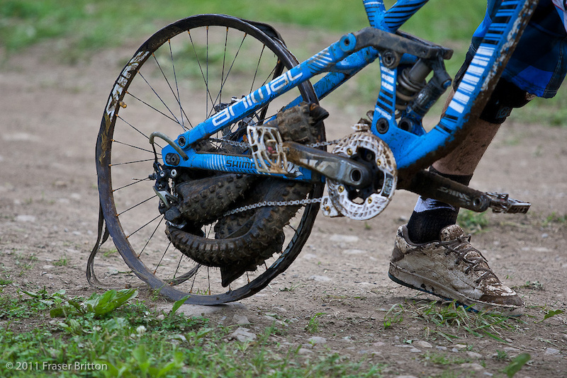 This is how Gee Atherton s day ended. It was a long walk back down.